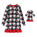 Girls 4-20 Jammies For Your Families Jolly Santa Family Microfleece Nightgown & Doll Gown Set