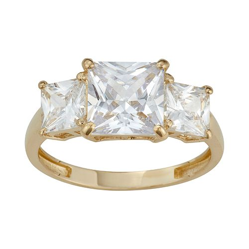 10k Gold 3-Stone Princess Cut Cubic Zirconia Ring