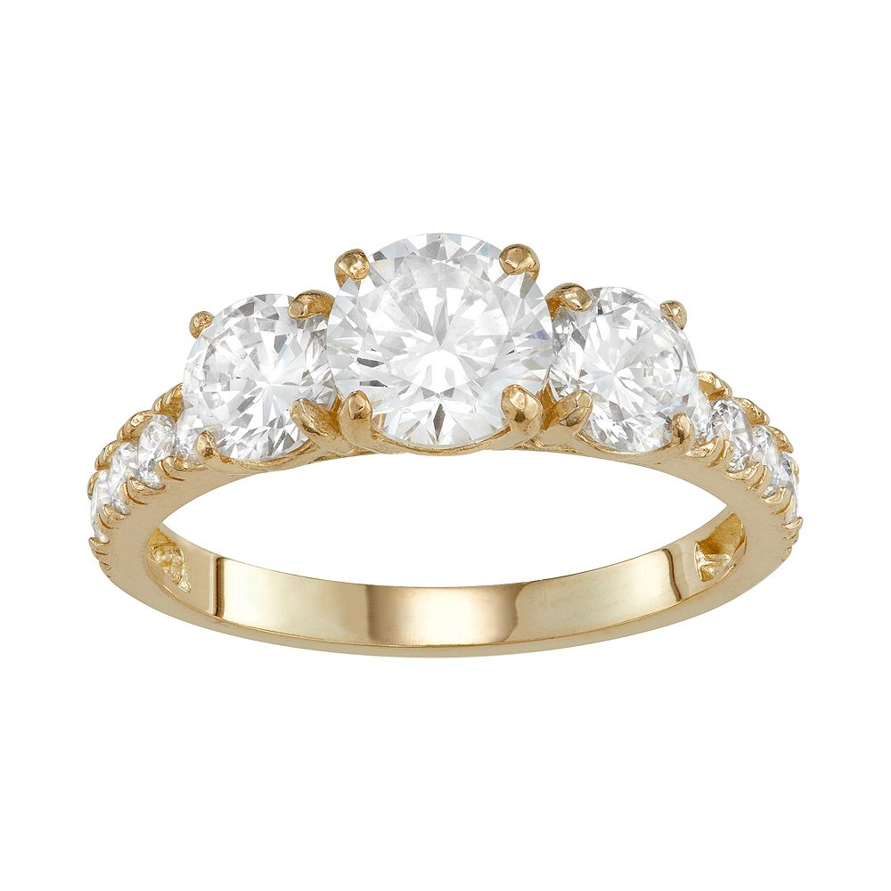 10k Gold 3-Stone Cubic Zirconia Engagement Ring