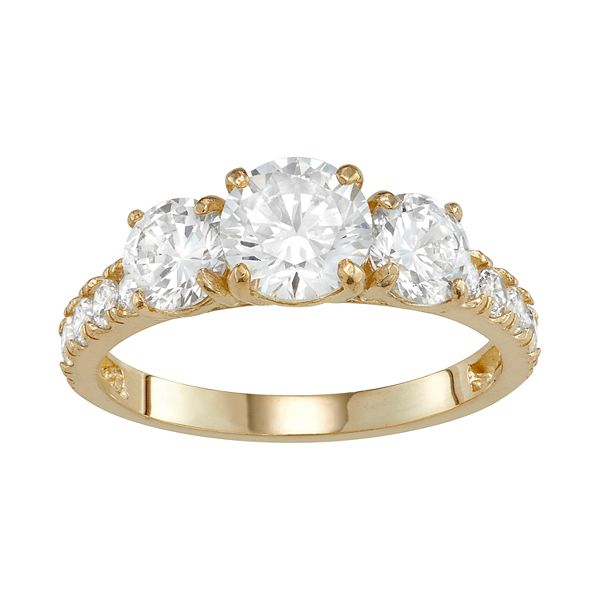 10k Gold 3 Stone Cubic Zirconia Engagement Ring