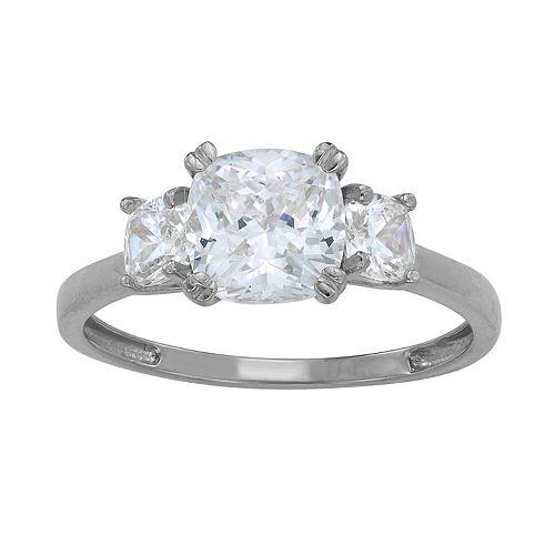 10k Gold Cubic Zirconia 3-Stone Cushion Engagement Ring