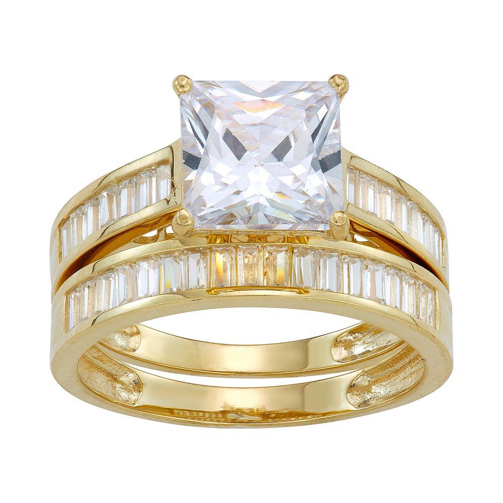 10k Gold Cubic Zirconia Baguette Bridal Ring Set