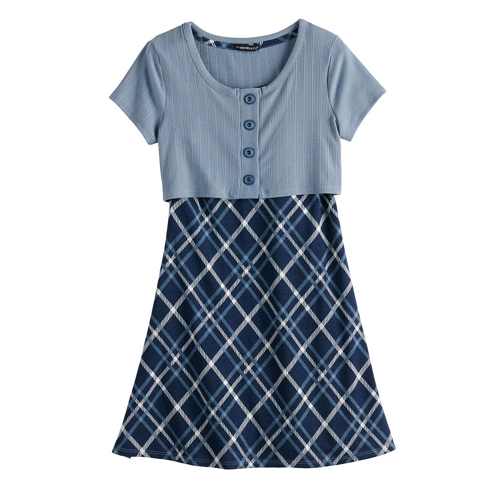 Girls 7-16 My Michelle Plaid Button Front Dress
