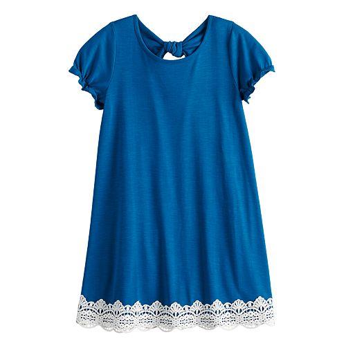 Girls 7-16 My Michelle Knit Dress with lace hem