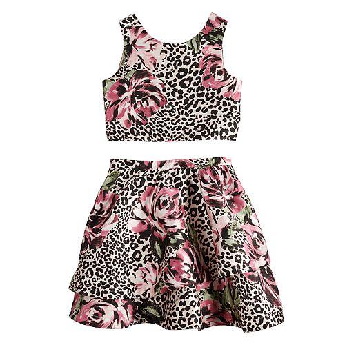 Girls 7-16 My Michelle Animal Printed Skirt Set