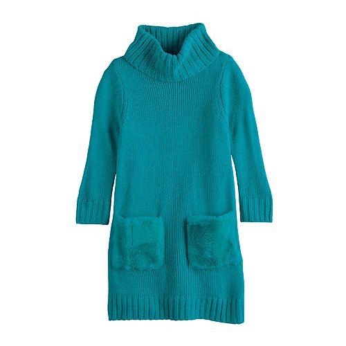Girls 7-16 My Michelle Faux Fur Pocket Cowlneck Sweaterdress