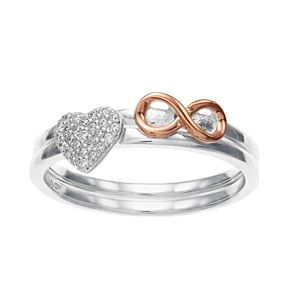 Close at Heart Two-Tone Heart & Infinity Stacked Ring Set