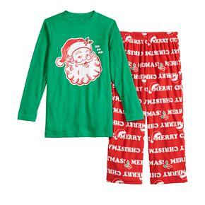 Boys 4-20 Jammies For Your Families Santa Ho Ho Ho Family Tee & Pants Pajama Set