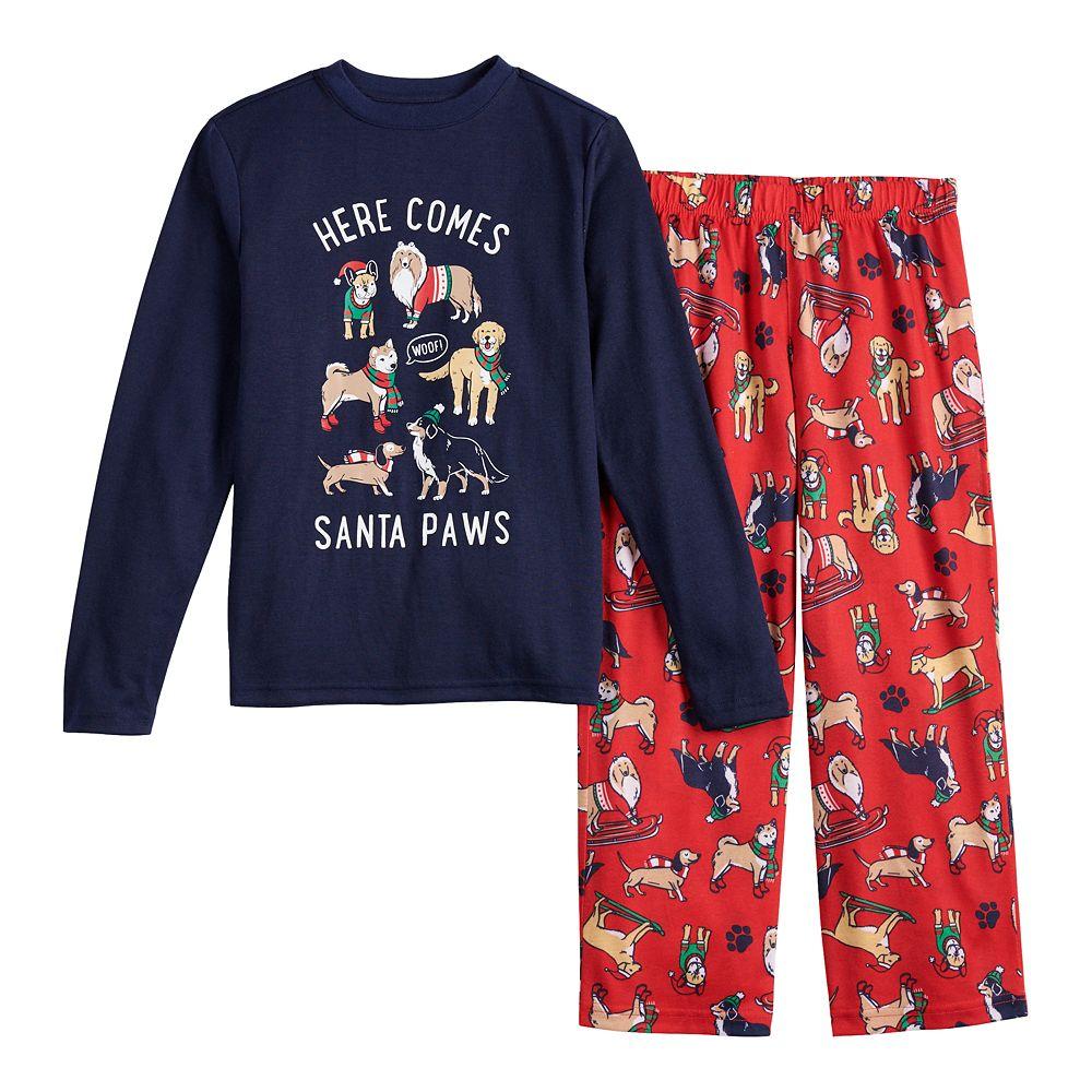 Boys 4-20 Jammies For Your Families® Here Comes Santa Paws Tee & Pants Pajama Set