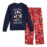 Boys 4-20 Jammies For Your Families Here Comes Santa Paws Tee & Pants Pajama Set