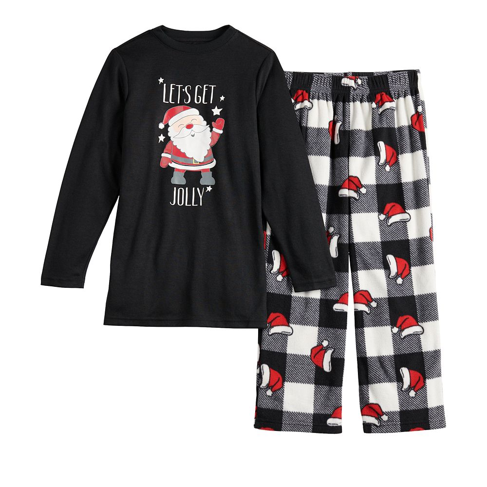 Boys 4-20 Jammies For Your Families® Jolly Santa Family Tee & Pants Pajama Set