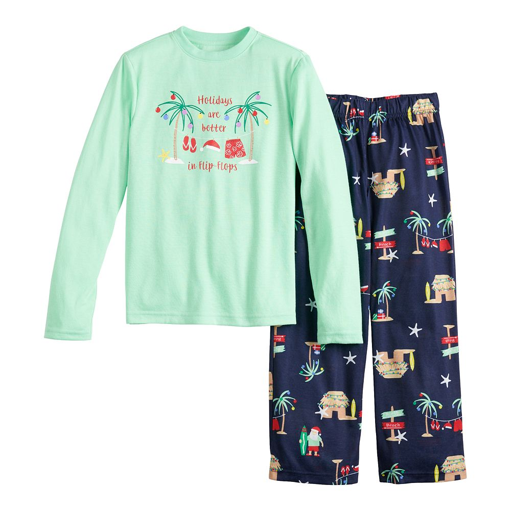 Boys 4-20 Jammies For Your Families® Flip Flop Holiday Family Tee & Pants Pajama Set