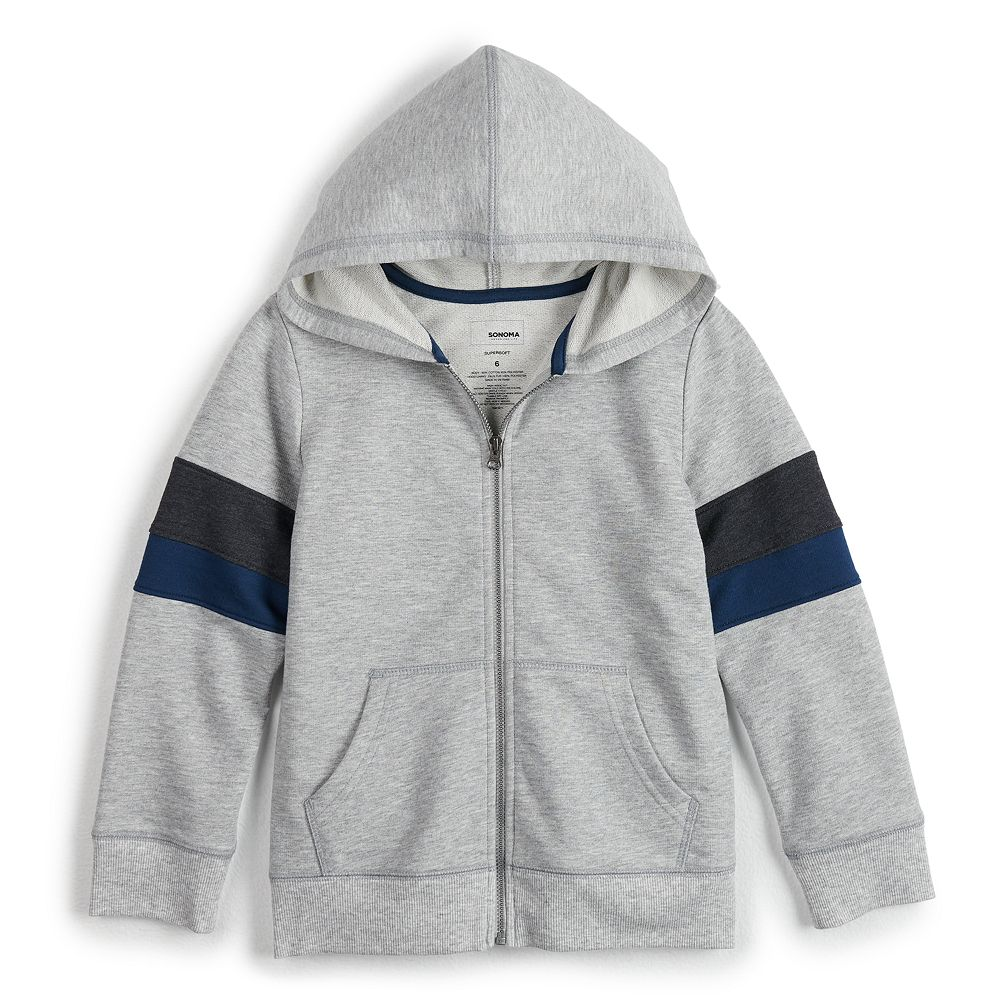 Boys 4-12 SONOMA Goods for Life® Striped Sleeves Zip Hoodie