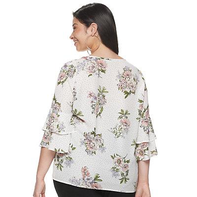 Juniors' Plus Liberty Love Floral Tie-Front Shirt