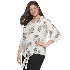 Juniors' Plus Liberty Love Floral Tie-Front Shirt