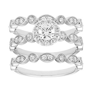14k Gold 9/10 Carat T.W. Diamond 3-Piece Engagement Ring Set