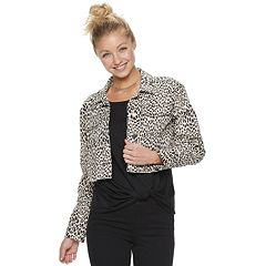 Juniors' Candie's® Leopard Crop Trucker Jacket