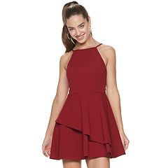 e59dbfce018 Juniors  Speechless High Neck Asymmetrical Layered Skirt Skater Dress