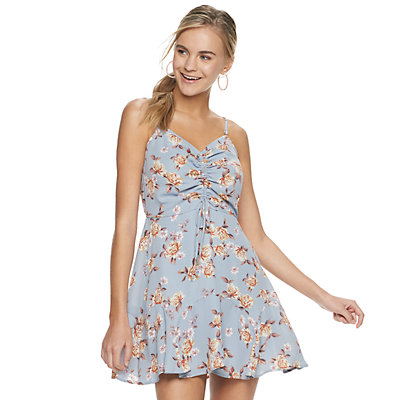 Juniors Three Pink Hearts Cinch Front Dress