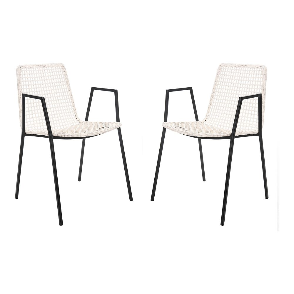 Safavieh Wynona Leather Woven Dining Chairs