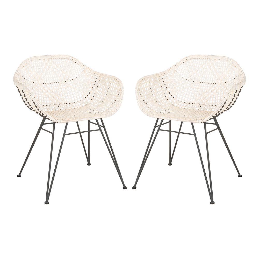 Safavieh Jadis Leather Woven Dining Chair 2-Piece Set