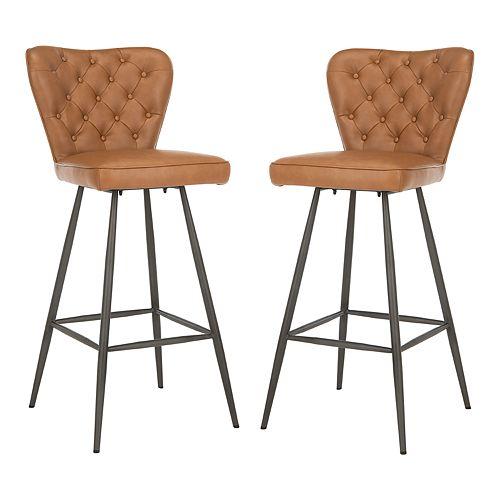 Outstanding Safavieh Aster Mid Century Modern Leather Tufted Bar Stool Machost Co Dining Chair Design Ideas Machostcouk