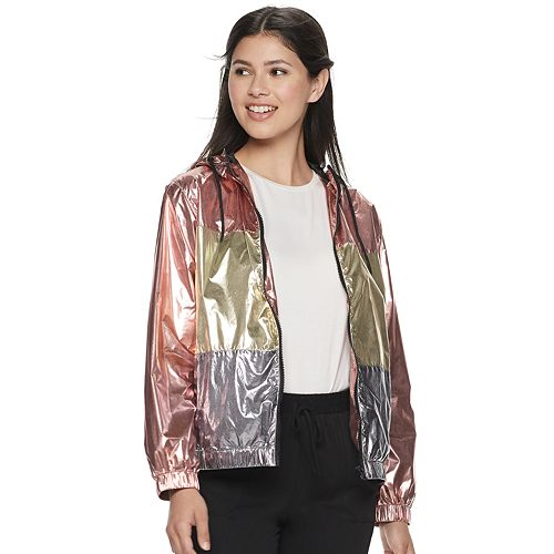 Juniors' Jou Jou Hooded Metallic Rain Jacket