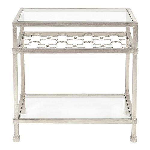 Safavieh Hanzel Silver Leaf Glass Side Table