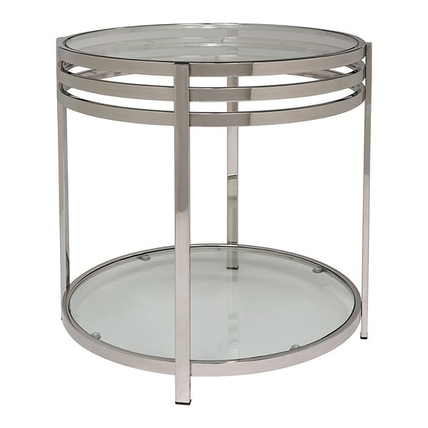 Safavieh Malory Chrome End Table With Glass Top