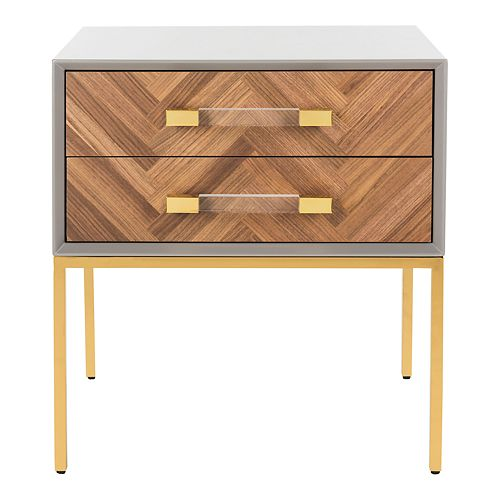 Safavieh Sanford Walnut 2-Drawer Side Table