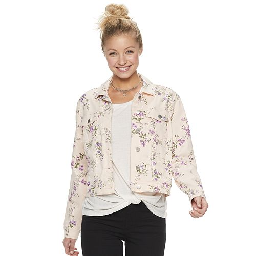 Juniors' Candie's® Printed Floral Crop Trucker Jacket