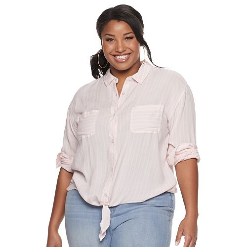 Juniors' Plus SO® Boxy Tie-Front Shirt