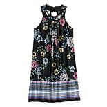 Girls 7-16 Three Pink Hearts Floral Shift Dress
