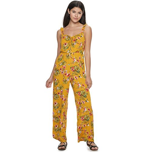 Juniors' Candie's® Ruched Tie Front Jumpsuit