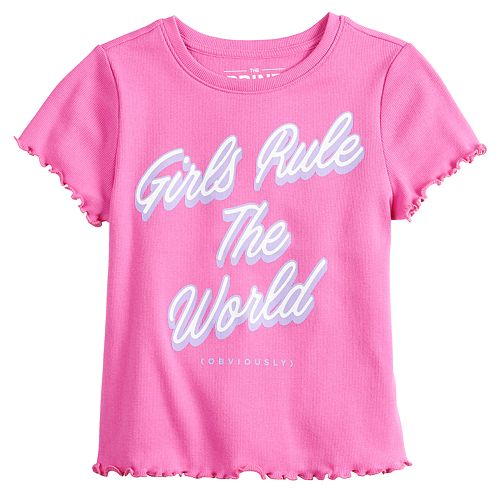 Girls 7-16 Cropped Lettuce Edge Graphic Tee