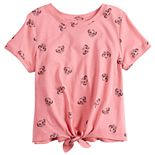 Girls 7-16 Cropped Knot Hem Graphic Tee