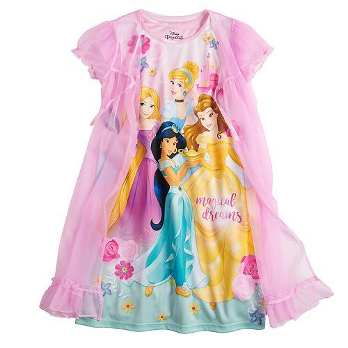 Girls 4-10 Disney Princess Night Gown with Robe