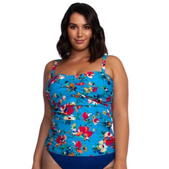 Plus Size Chaps Floral Twist Shirred Bandini