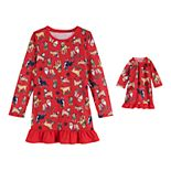 Girls 4-16 Jammies For Your Families Here Comes Santa Paws Knit Nightgown & Doll Gown