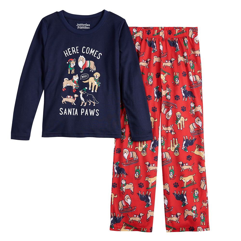 Girls 7-16 Jammies For Your Families® Here Comes Santa Paws Tee & Pants Pajama Set