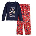 Girls 7-16 Jammies For Your Families Here Comes Santa Paws Tee & Pants Pajama Set