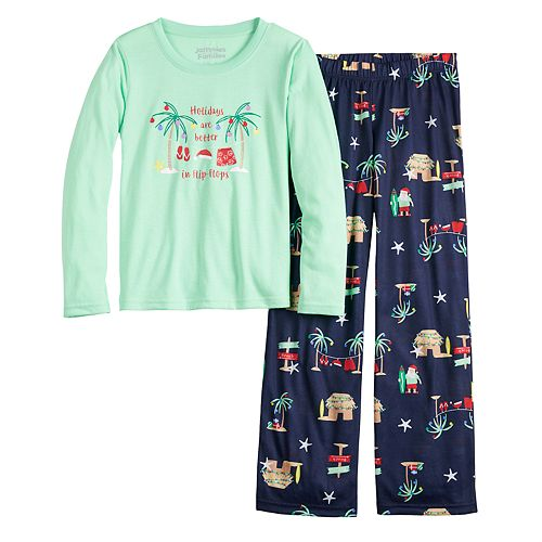 Girls 7-16 Jammies For Your Families® Flip Flop Holiday Family Tee & Pants Pajama Set