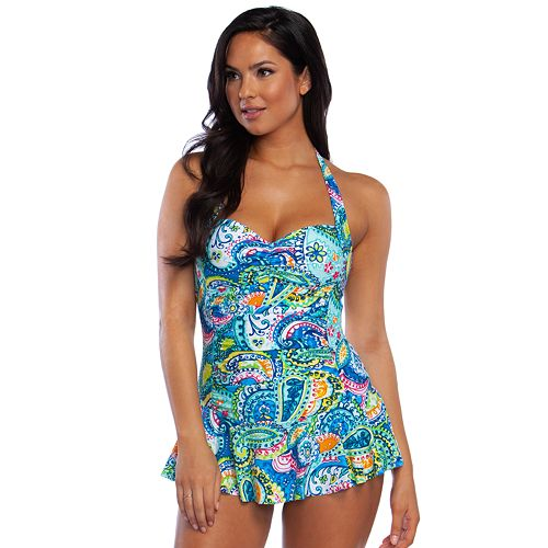 0e4ebc2e686 Women's Chaps Paisley Halter Swim Dress