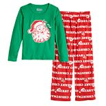 Girls 7-16 Jammies For Your Families Santa Ho Ho Ho Family Tee & Pants Pajama Set