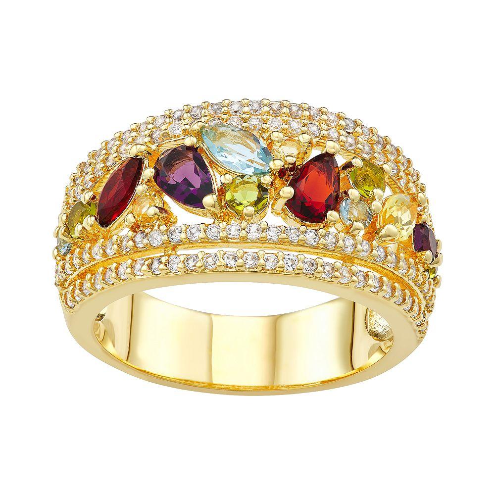 14k Gold Plated Gemstone Cluster Ring