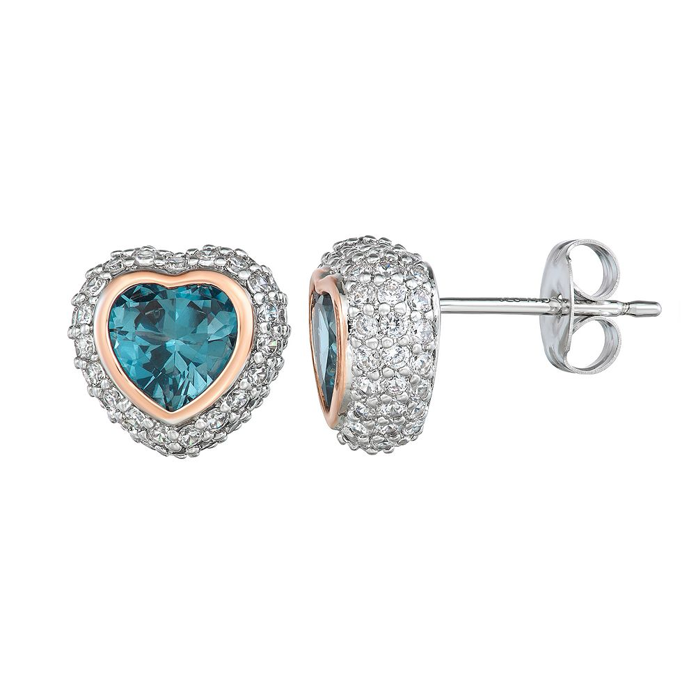 Two Tone Sterling Silver Lab-Created Blue Spinel & Cubic Zirconia Heart Stud Earrings