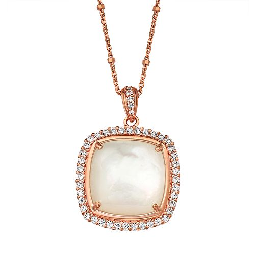 14k Rose Gold Over Silver Mother of Pearl Cushion Pendant Necklace