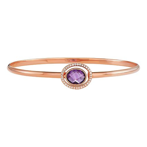 14K Rose Gold Over Silver Amethyst Bangle Bracelet