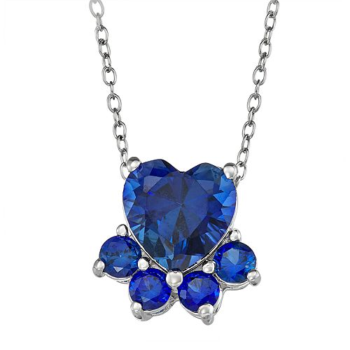 Sterling Silver Lab-Created Sapphire Dog Paw Necklace