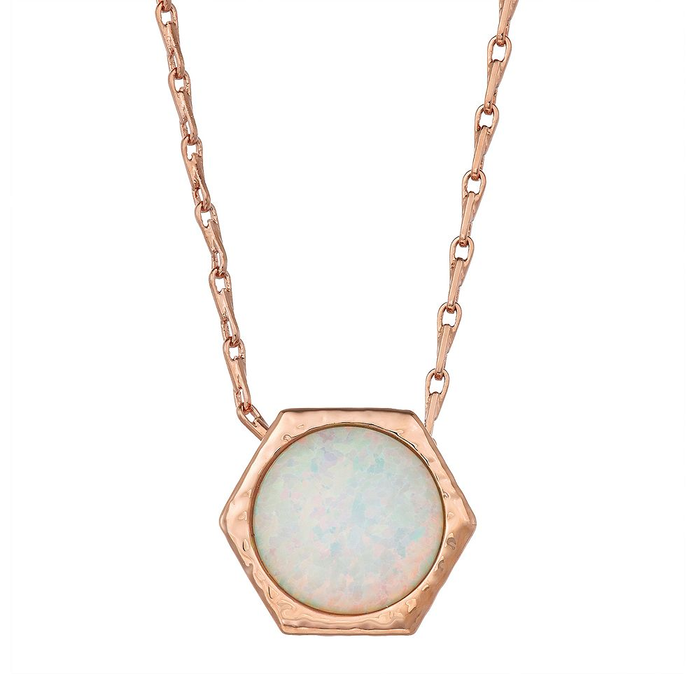14k Rose Gold Over Silver Lab-Created White Opal Geometric Pendant Necklace